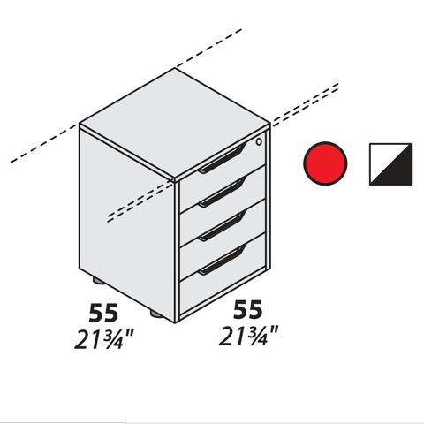 Тумба офисная 4 ящика опорная 550 мм LOGIC