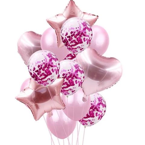 Букет нежно розовых шаров с сердцами, звездами и шарами с конфетти