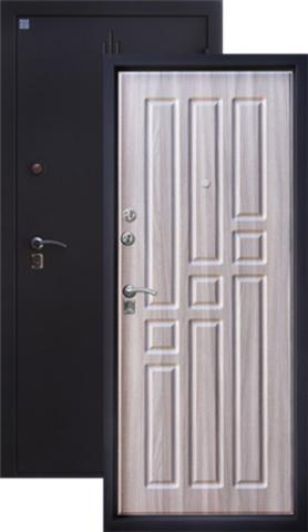 Дверь входная Топаз 2 стальная, серый холст, 2 замка, фабрика Алмаз