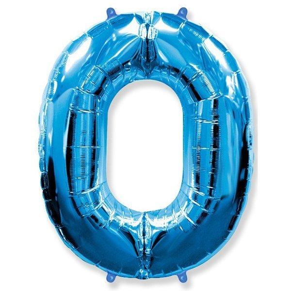 Фольгированная цифра 0, синий