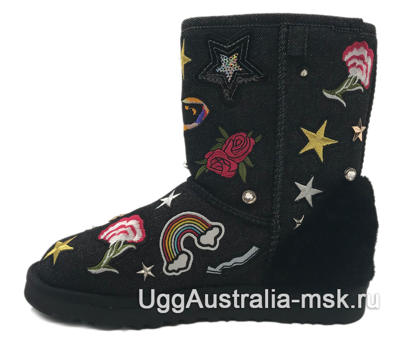 UGG Classic Short Patch It Black