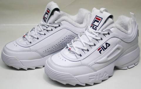 Женские кроссовки fila белые с мехом Disruptor II RN 91175