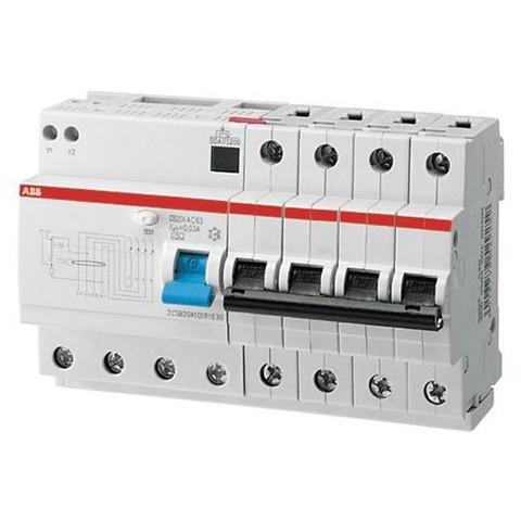 Автоматический выключатель дифференциального тока (АВДТ) DS204 A-C63/0,03 тип A ABB