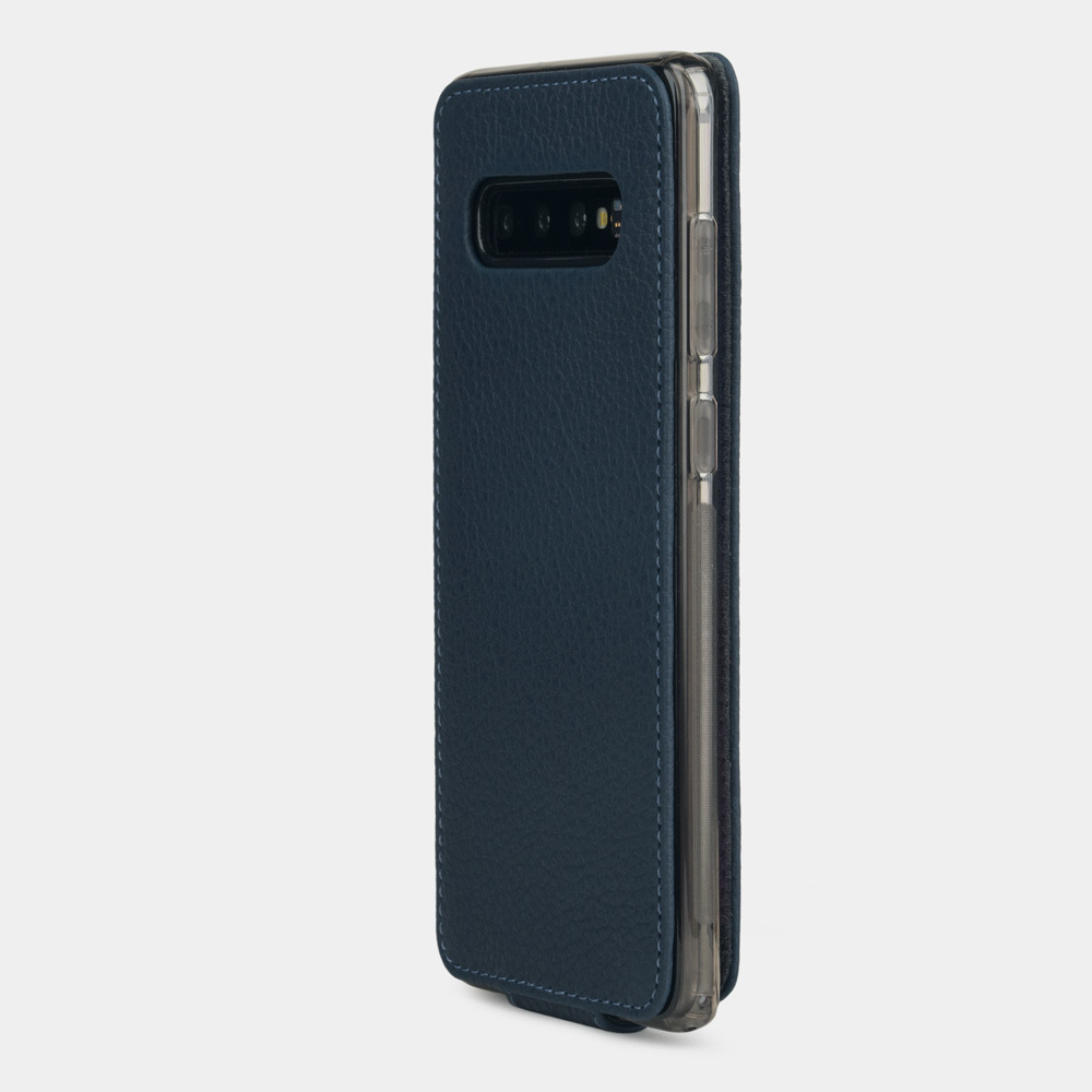 Чехол для Samsung Galaxy S10 из натуральной кожи теленка, цвета синий мат