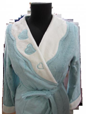 НАБОР женский махровый халат с тапочками МОНИКА СЕРДЕЧКИ- MONIQUE KALPLI  Maison Dor Турция