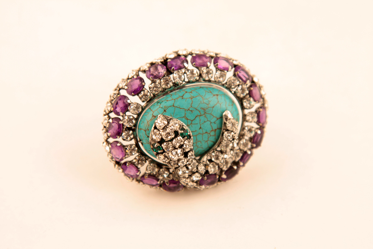Luxury ring with turquoise and snake by C&D Jewelry