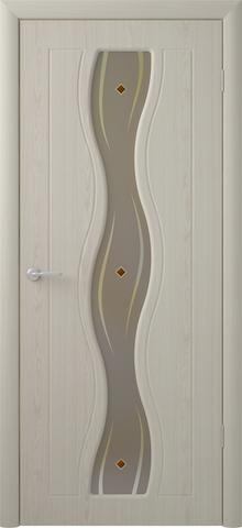Дверь Фрегат Бергамо, художественное с фьюзингом, цвет беленый дуб, остекленная