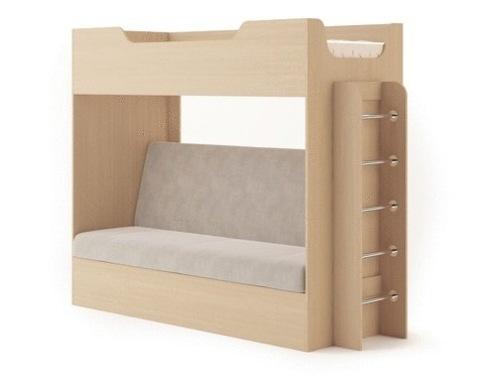 Кровать двухъярусная  КР-11  с диваном дуб белёный