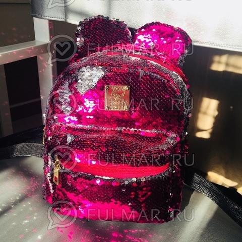 Рюкзак с пайетками и Ушами меняет цвет Малиновый-Серебристый Пупс