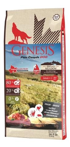 Genesis Pure Canada Broad Meadow для взрослых собак с говядиной, мясом косули и дикого кабана 11.79 кг
