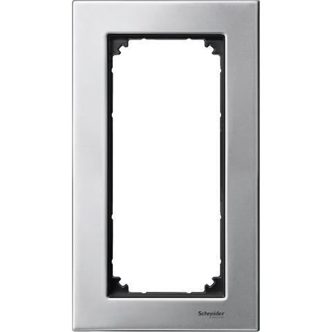 Рамка на 2 поста, без перегородки. Цвет Платина/Серебро. Merten. M-Elegance System M. MTN403860