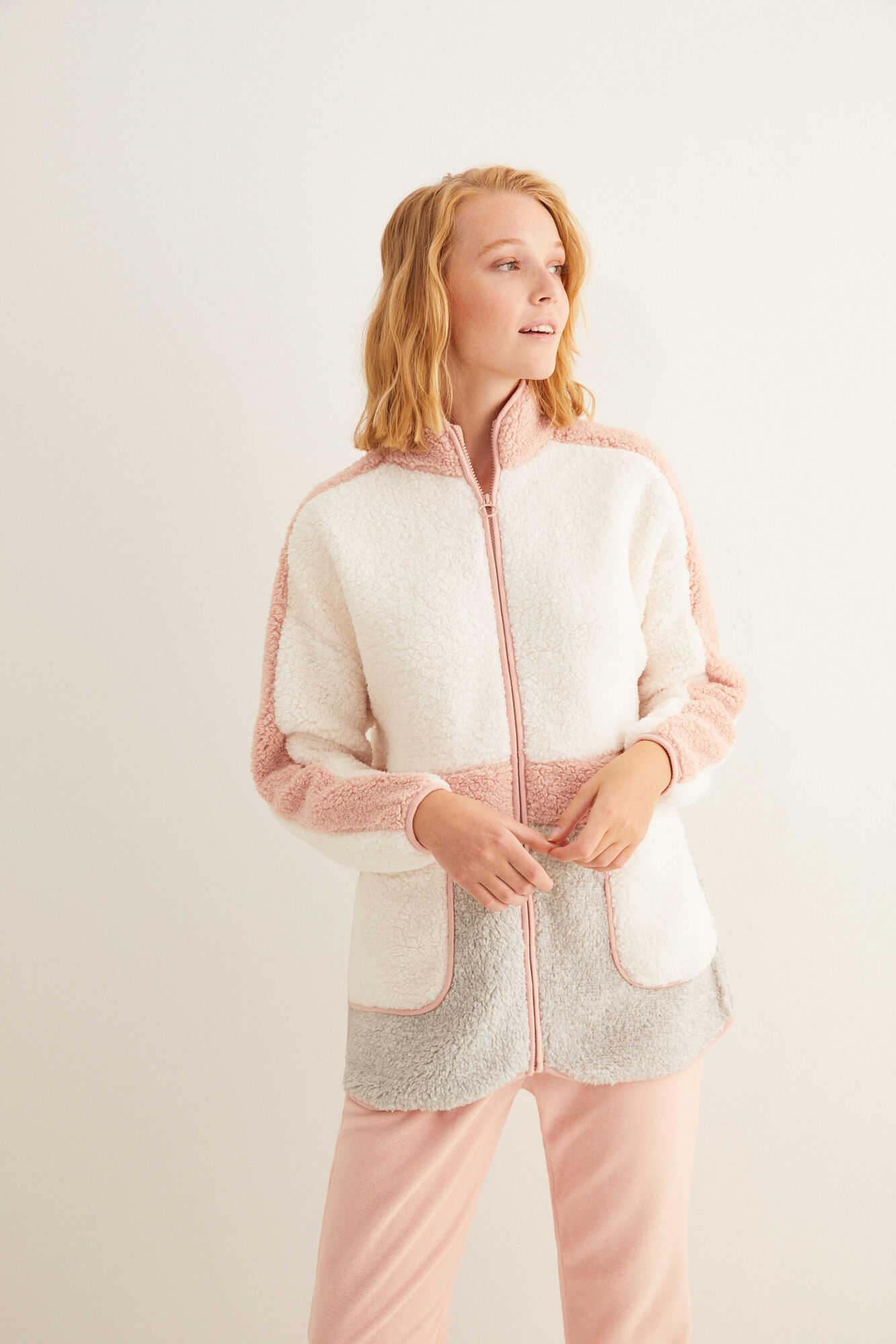 Флісовий халат із застібкою-блискавкою