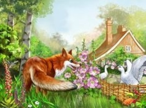 Картина раскраска по номерам 40x50 Встреча лисы и гуся