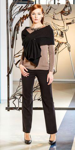 Фото черный шарф с прорезью - Шарф Ш806-028 (1)