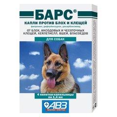 Барс Капли против блох и клещей для собак, 1,4 мл (4 пипетки)