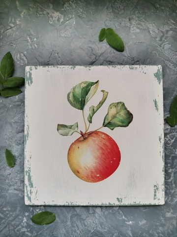 Ботаническое панно (среднее состаривание), 20х20х1 Яблоко. Листья. Цветок.