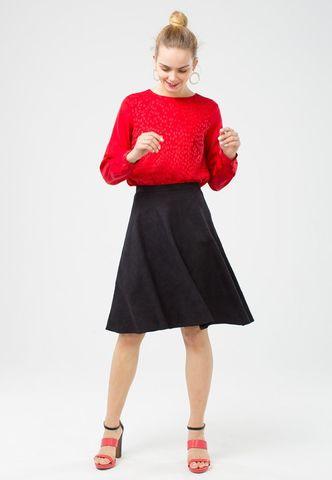 Фото базовая черная юбка-полусолнце с имитацией замши - Юбка Б045-379 (1)