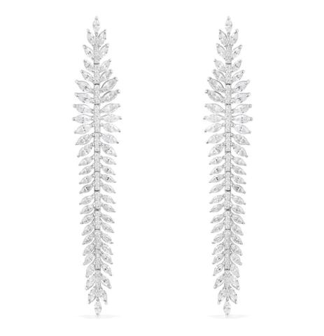 AE10752OX- Серьги длинные из серебра с цирконами в стиле APM MONACO