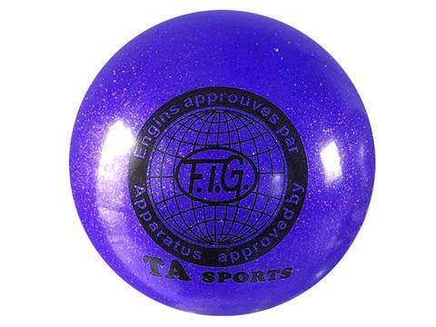 Мяч для художественной гимнастики силикон TA sport. Диамерт 19 см. Цвет синий с добавлением глиттера.:(Т9):