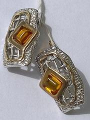 Грида-янтарь( серьги из серебра)