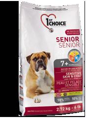 Корм для пожилых собак всех пород, 1st Choice Senior, для здоровья кожи и шерсти, с ягненком, рыбой и рисом.