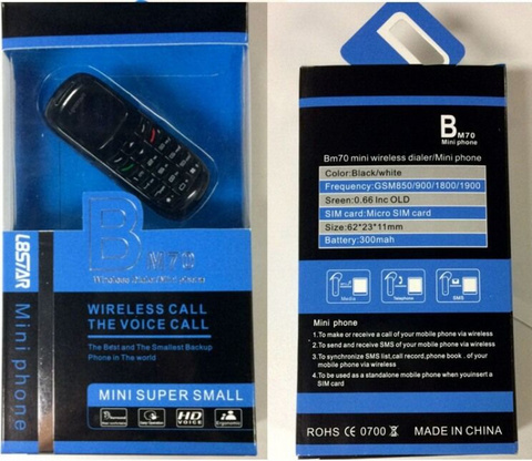 Мини-микро телефон 6 см L8STAR BM70 цвет белый супер маленький крошечный телефон