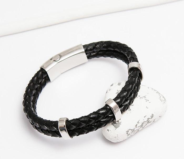 BM461 Стильный мужской браслет из кожаных шнуров со сталью (20 см)