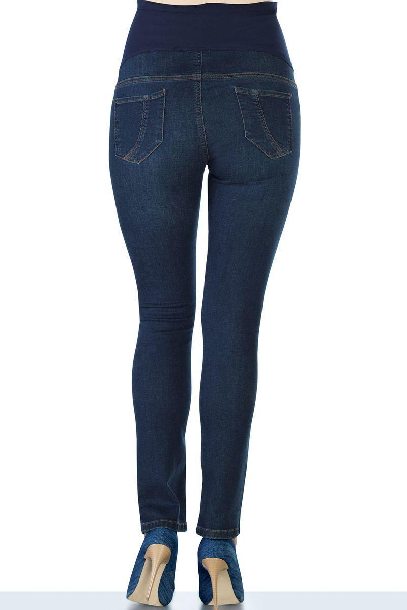 Фото джинсы для беременных EBRU, зауженные, трикотажная вставка от магазина СкороМама, темно-синий, размеры.