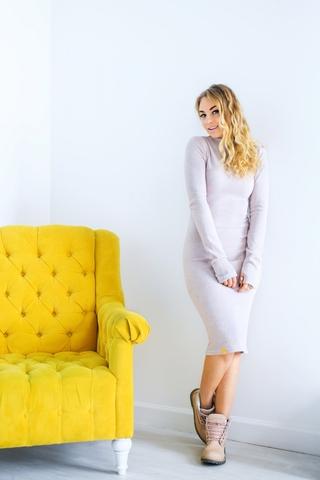 Платье шерстяное с вырезом лодочка кремовое