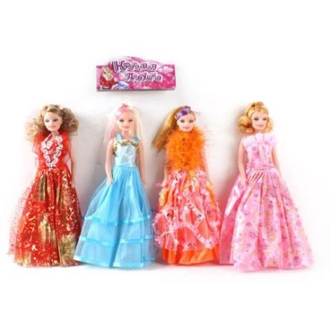 Кукла  в бальном платье простая Красивая девушка в ассортименте в пак., 1кор*1бл*6шт