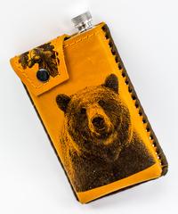 Фляга в кожаном чехле Медведь, 350 мл, фото 3