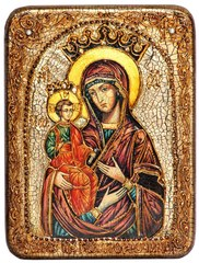 Инкрустированная икона Образ Божией Матери Троеручица 20х15см на натуральном дереве в подарочной коробке
