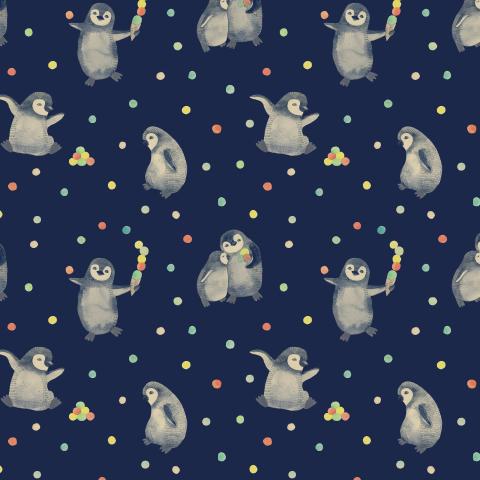 Пингвины и мороженное на синем фоне