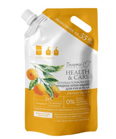 Белита-М Health & Care Антибактериальное жидкое крем-мыло для рук и тела Orange Cream 1л
