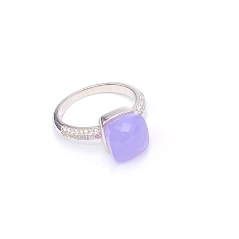 33314 - Кольцо Caramel-лаванда из серебра с кварцем