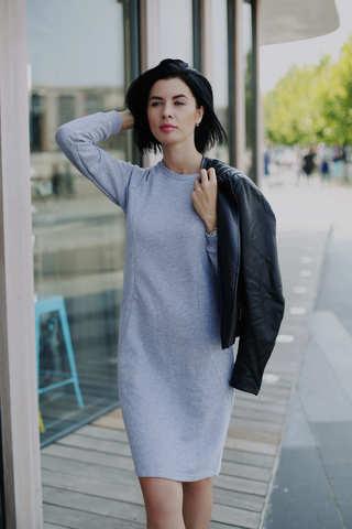 Платье casual с секретом для кормления Серый меланж