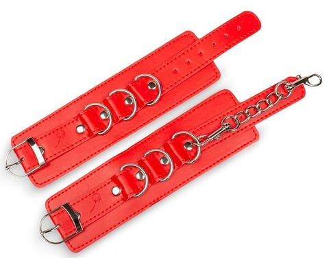 Красные наручники на застежках с цепочкой