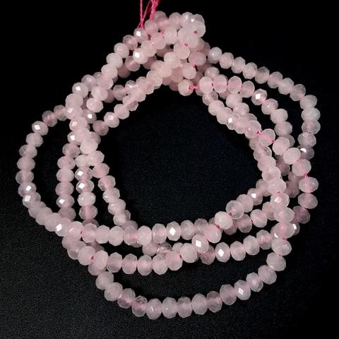 Бусина кварц розовый А рондель граненый 4,5х3,3 мм 8 бусин