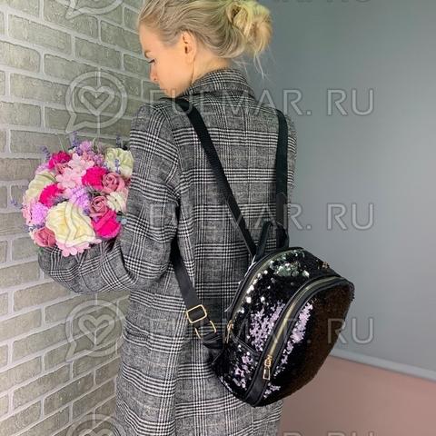 Рюкзак с пайетками меняющий цвет Чёрный-Серебристый модель Mila