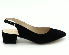 Черные босоножки на устойчивом каблуке