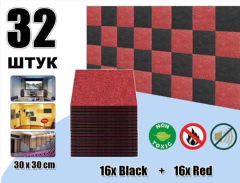 POLYSTER  набор  32 штук  из полиэфирного волокна черный+красный 300x300x9