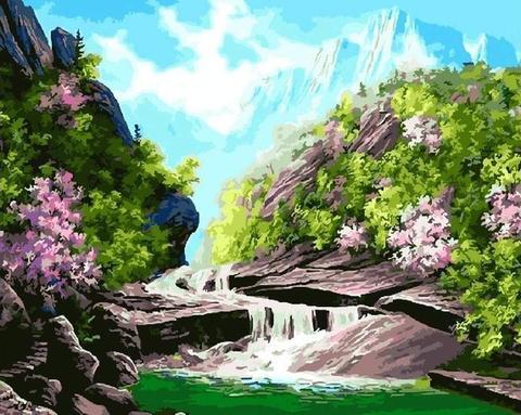 Картина раскраска по номерам 40x50 Горная река среди розовых кустов (арт. Y5098)