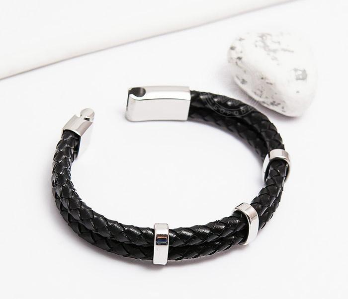 BM461 Стильный мужской браслет из кожаных шнуров со сталью (20 см) фото 03