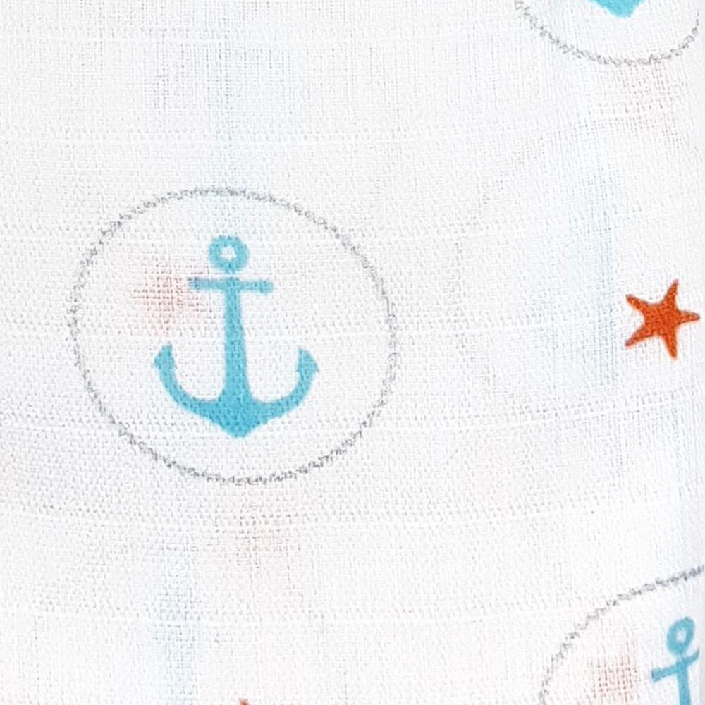 Пеленка детская муслиновая Adam Stork Blue Anchors 2