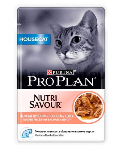 Pro Plan пауч для домашних кошек (в соусе с лососем) 85 г