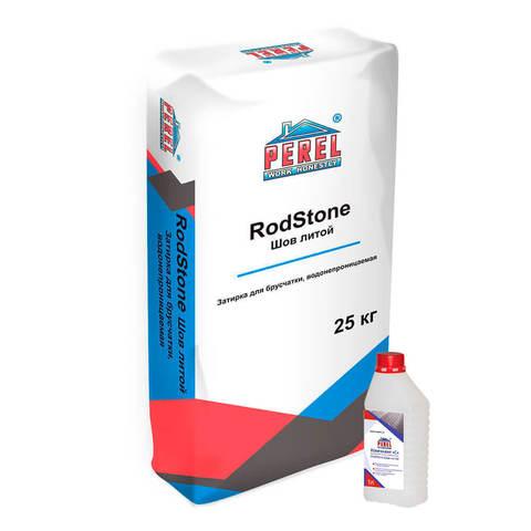 Perel Rodstone Шов-литой, серый, мешок 25 кг и раствор 1л - Затирка для брусчатки, водонепроницаемая
