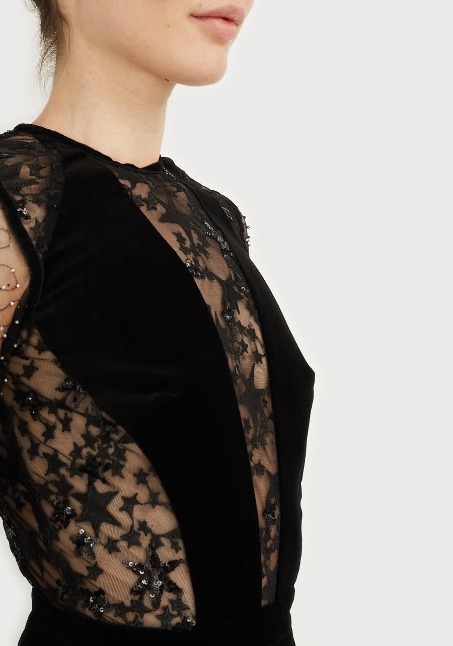 """Платье черное мини с принтом """"Silver Star"""""""