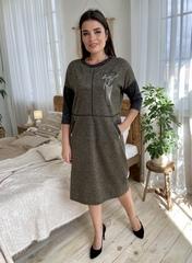 Ярослава. Удобное стильное платье плюс сайз. Хакки