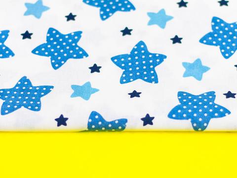 Ткань хлопок, Let's make отрез 30х40 см. Рисунок - синие и голубые звездочки на белом 310683388