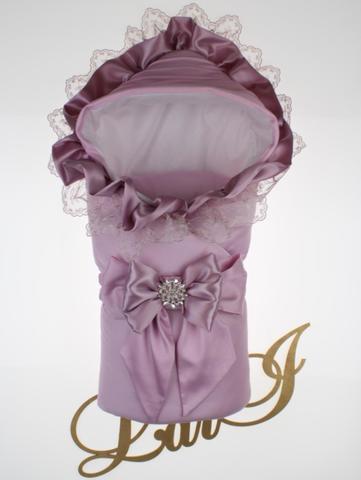 Демисезонный конверт одеяло на выписку из роддома Милена (лаванда розовый)